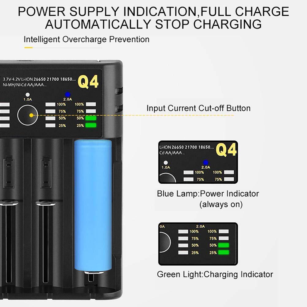 Caricabatterie 18650 Caricabatterie USB 21700 26650 a 4 Slot Caricabatterie Intelligente a Batteria al Litio