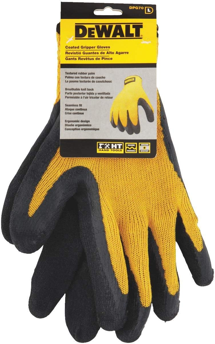 DeWALT DPG70L Gripper yellow//black work textured rubber latex gloves size large