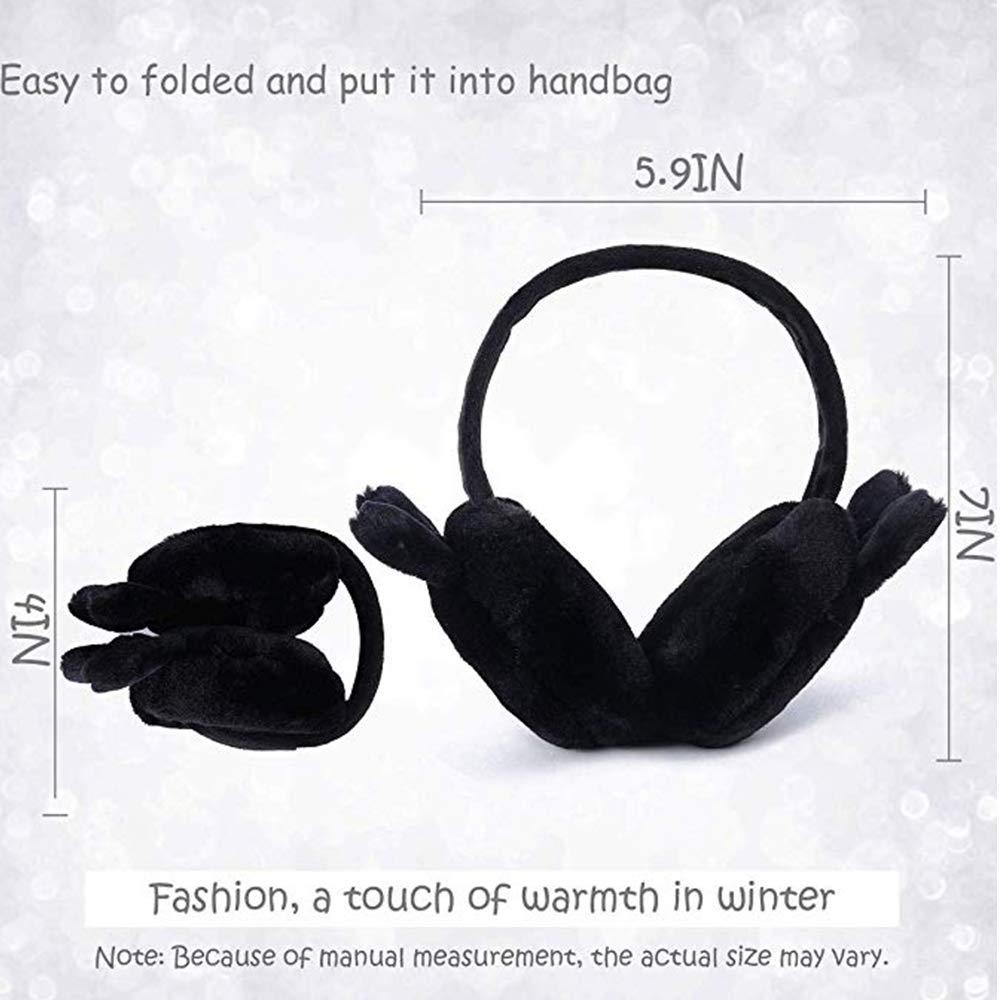 Womens Winter Earmuffs Girls Foldable Ear Muffs Headbands Winter Warm Cute Ear Warmers Outdoor Earmuffs White