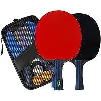 PHLIBOSS Boll Palas Ping Pong Professional Raquetas de Ping-Pong Carbono con Funda para Juego de Tenis de Mesa Entrenamiento 2 Raquetas de Ping Pong + 3 Pelotas + 1 Bolsa