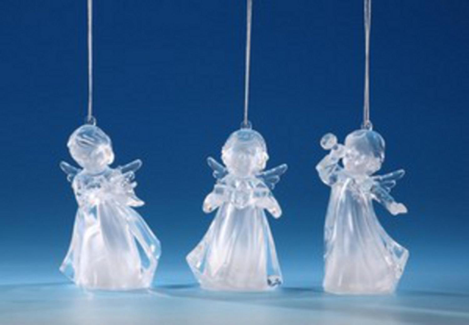 Pack of 6 Icy Crystal Illuminated Decorative Choir Girl Ornaments 4.25''