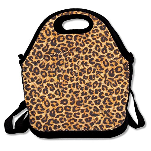 Leopard Print Lunch Tote Bag Picnic Lunchbox Insulated Reusable Container Organizer Form Adults, Kids