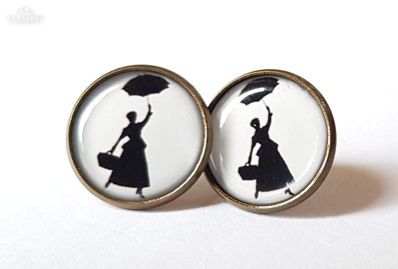 Mary Poppins Earrings Antique Bronze Studs Jewellery Disney Theme Handmade NEW