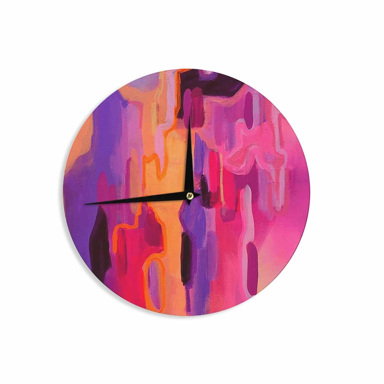 12 Wall Clock Kess InHouse Geordanna Fields Pungent Euphoria Orange Pink Abstract