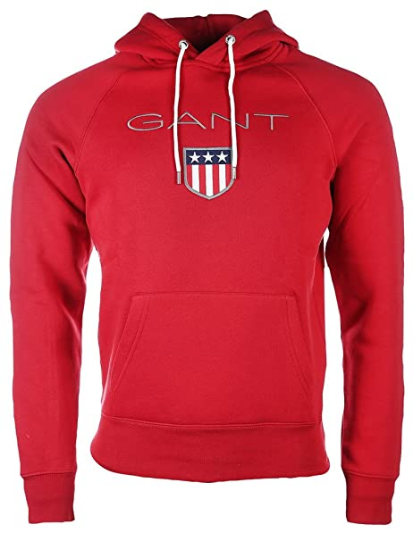 Sudadera Gant shield con capucha - Color - ROJO, Talla - XL: Amazon.es: Ropa y accesorios