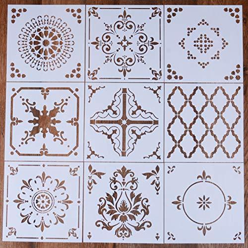 LOCOLO Reusable Mandala Floor Stencil Set of 9 (6 x 6 inch) Painting Stencil, Laser Cut Painting Template Floor Wall Tile Fabric Wood Stencils DIY Decor (B)