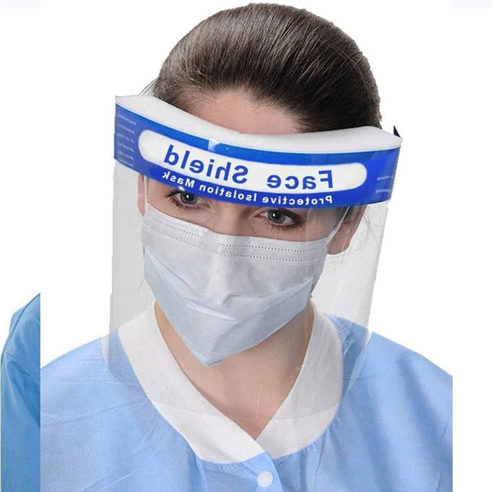 Visera protectora para rostro completo, unisex, ajustable, transparente, transpirable, protección facial reutilizable, antivaho líquidos, antisalpicaduras, con banda elástica y esponja, Face Cover B