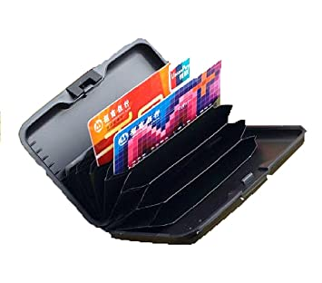 Monedero para tarjetas de crédito con bloqueo RFID de Aluma, color plateado. negro negro