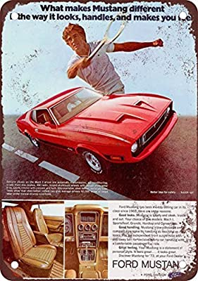 1973 Ford Mustang Mach 1 Vintage Look Reproduction Metal Tin Sign 12X18 Inches