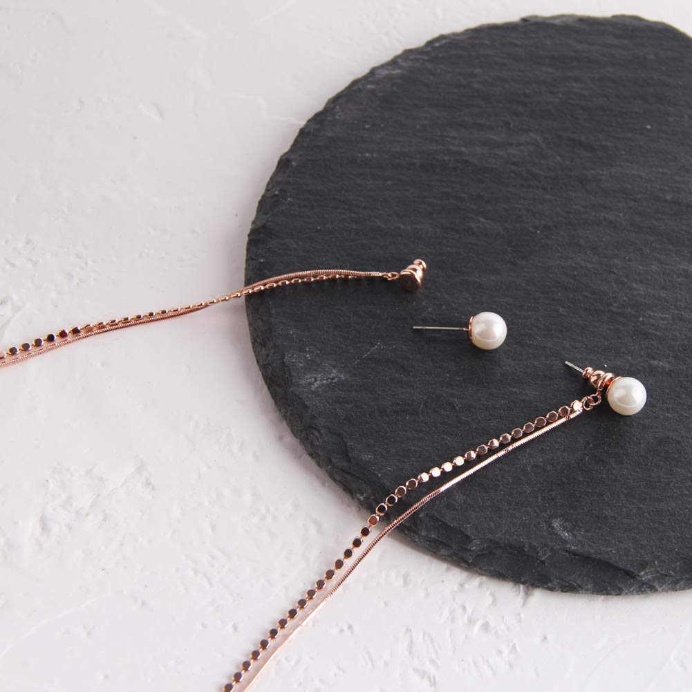 YESLADY Rose Gold Long Tassel Earrings Pearl Chain Hanging Rope Dangle Earring for Women Girls