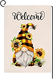 BLKWHT Spring Summer Sunflower Garden Flag Vertical Double Sided Welcome Gnome Bee Yellow Floral Burlap Yard Outdoor Decor 12.5 x 18 Inches A2137