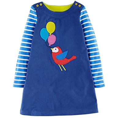 a6df268c1 Girls Cotton Long Sleeve Casual Cartoon Appliques Striped Jersey Dresses  (2T, Bird)