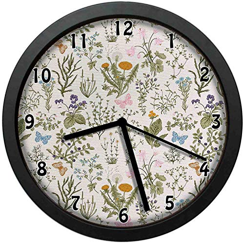 (Vintage Garden Plants with Herbs Flowers Botanical Classic DesignWall Clock Home Office School Clock)