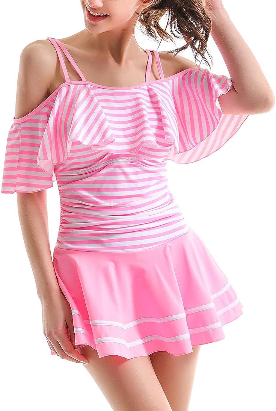 COCOPEAR Womens One Piece Flounce Swimsuit Off Shoulder Bathing Suit Tummy Control Swimdress FBA
