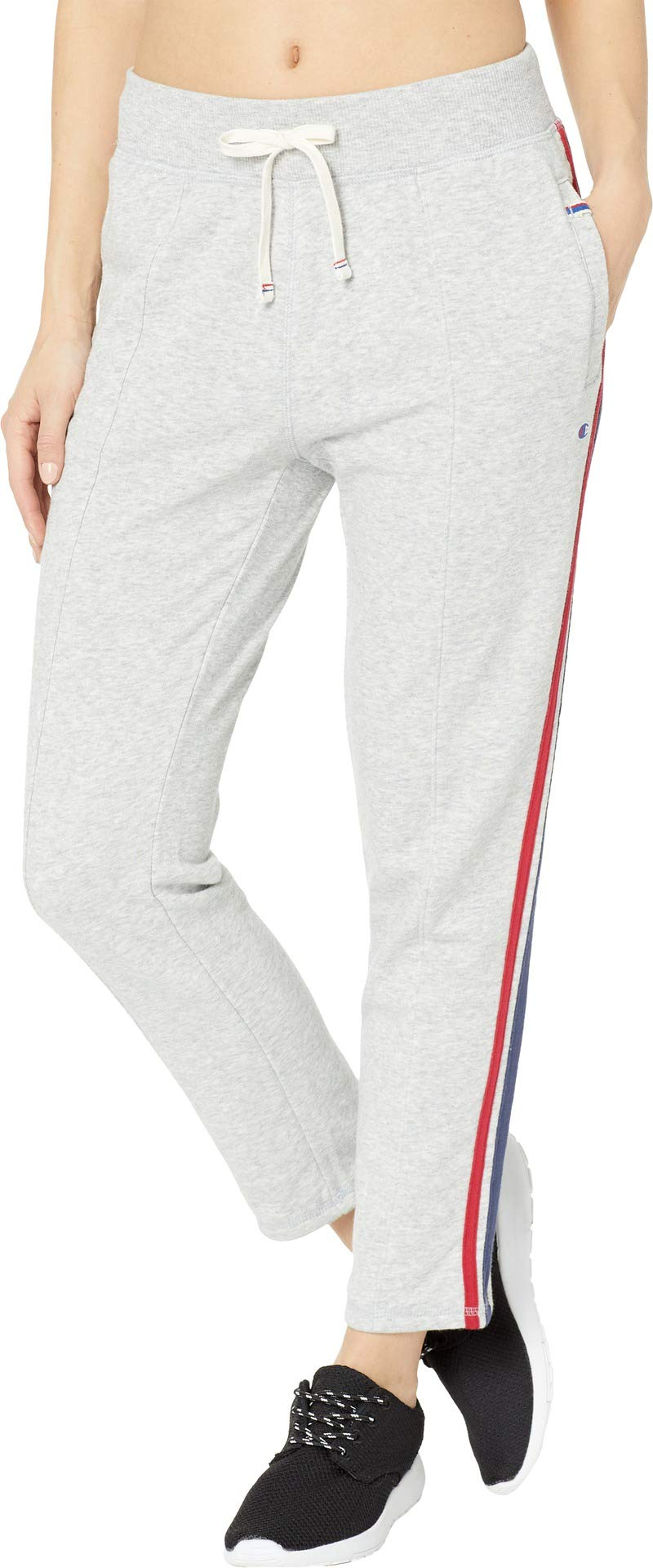 Champion Women's Heritage Warm Up Ankle Pant, Oxford Grey Heather/Imperial Indigo, X-Small