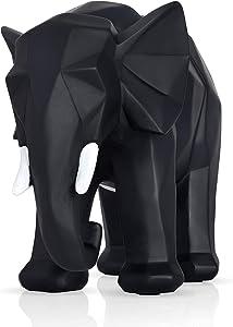 Home Décor Elephant Statue, Interior Design Modern Figurine, Black Geometric Boho Chic Hand Sculpture, Large Good Luck Feng Shui Outdoor Garden Animal, Smooth Texture with an Elegant Matte Finish