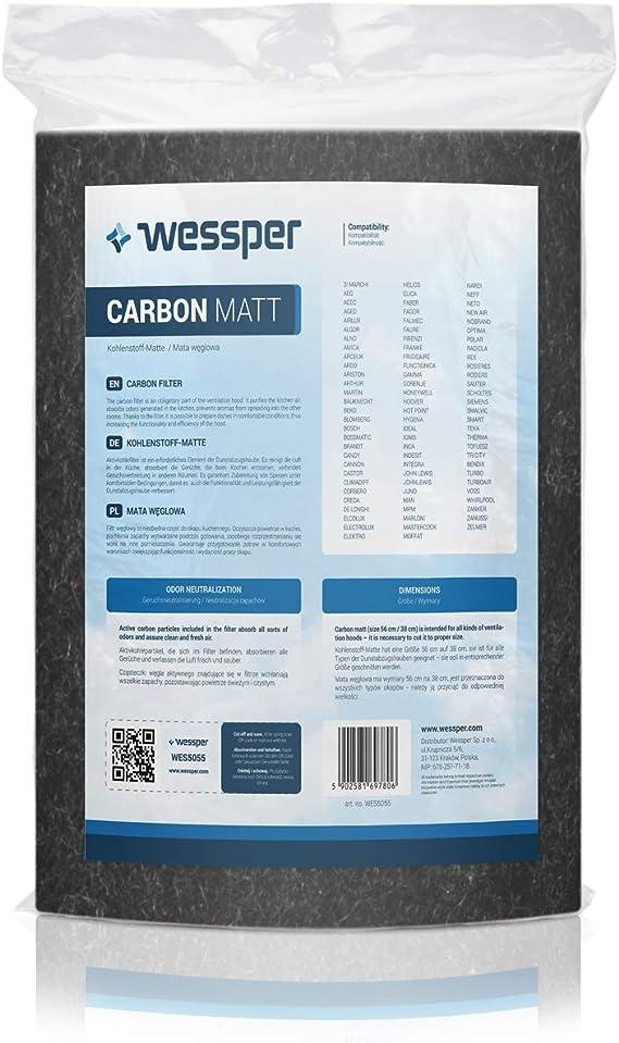 Wessper Filtro de carbón Activo para Campanas extractoras 38x56cm: Amazon.es: Grandes electrodomésticos