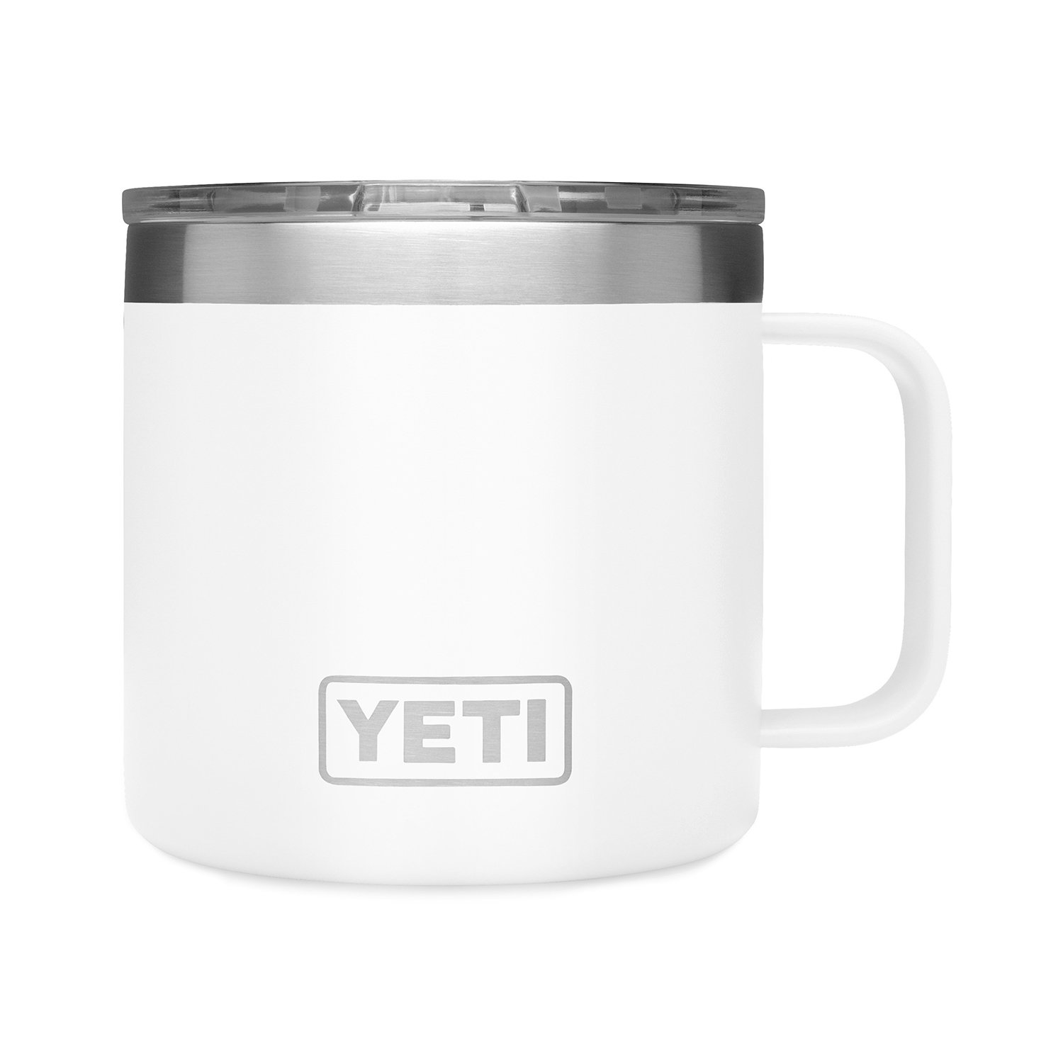 White Yeti mug made of stainless steel.