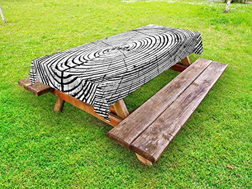 Lunarable Tree of Life Outdoor Tablecloth, Tree Rings Saw Cut Trunk Forest Wood Growth Timber Old Dried Crack Years, Decorative Washable Picnic Table Cloth, 58 X 84 Inches, Black White
