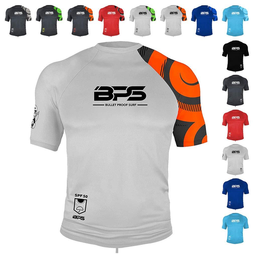 BPS Mens Short-Sleeve Quick Dry Rash Guard UPF 50+ - White Orange, XL by BPS