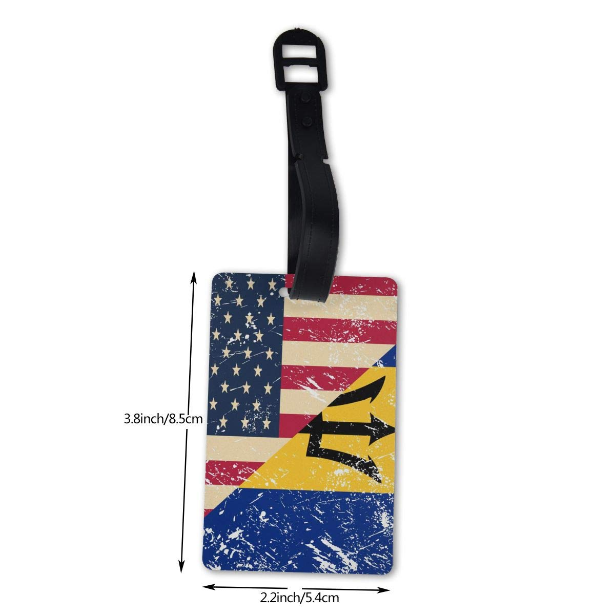 NB UUD USA and Barbados Retro Flag Travel Luggage Tag Portable Employees Card Luggage Tag Holders Travel ID Identification Labels for Baggage Suitcases Bags