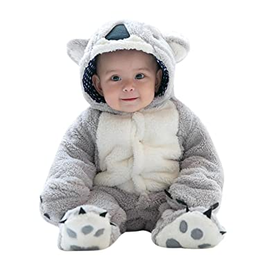 5925257c4 Ecurson Baby Koala Lamb Cartoon Animal Onesie Hooded Rompers Photo Props  Costume (Grey, 0