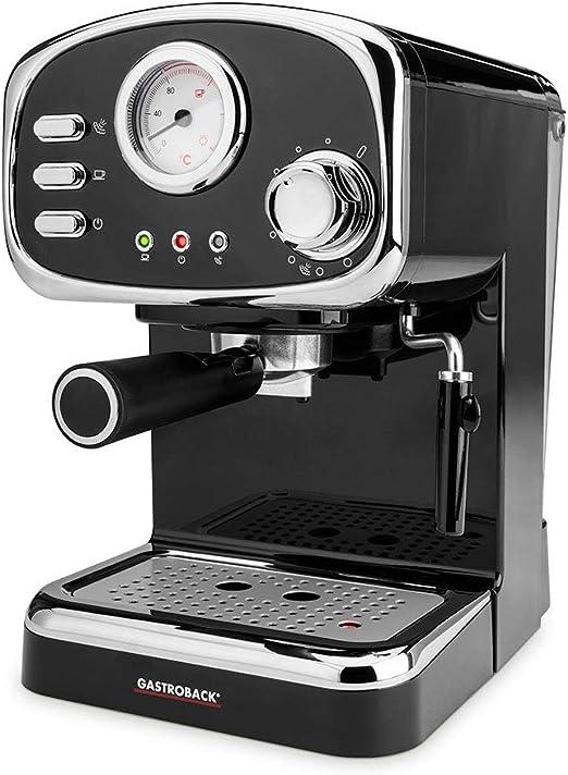 GASTROBACK 42615 - Cafetera expreso Basic, 1100 W, boquilla giratoria para espuma de leche, bomba de espresso profesional, plástico, color negro y plateado: Amazon.es: Hogar