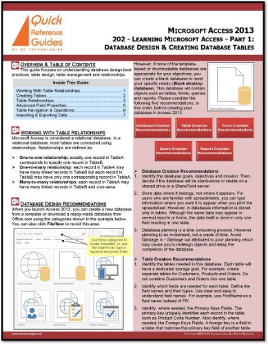 Microsoft Access 2013 Quick Reference Guide - Learning Microsoft Access - Part 1: Introduction to Database Design Best Practices & Creating Database Tables (202)