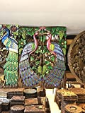 Home Decor Thai Couple of Peacock Pianted Hand Carved Wood Wall Art, Thailand Work Art By WADSUWAN SHOP.