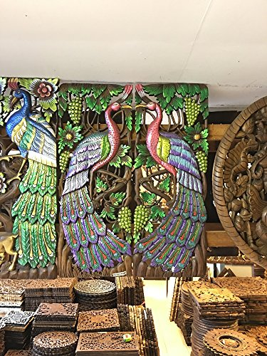 Home Decor Thai Couple of Peacock Pianted Hand Carved Wood Wall Art, Thailand Work Art By WADSUWAN SHOP. by WADSUWAN SHOP