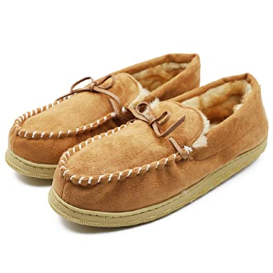 764b6d81838449 Image Unavailable. Image not available for. Color: Men's Moccasin Slippers  Thick Plush Lining ...