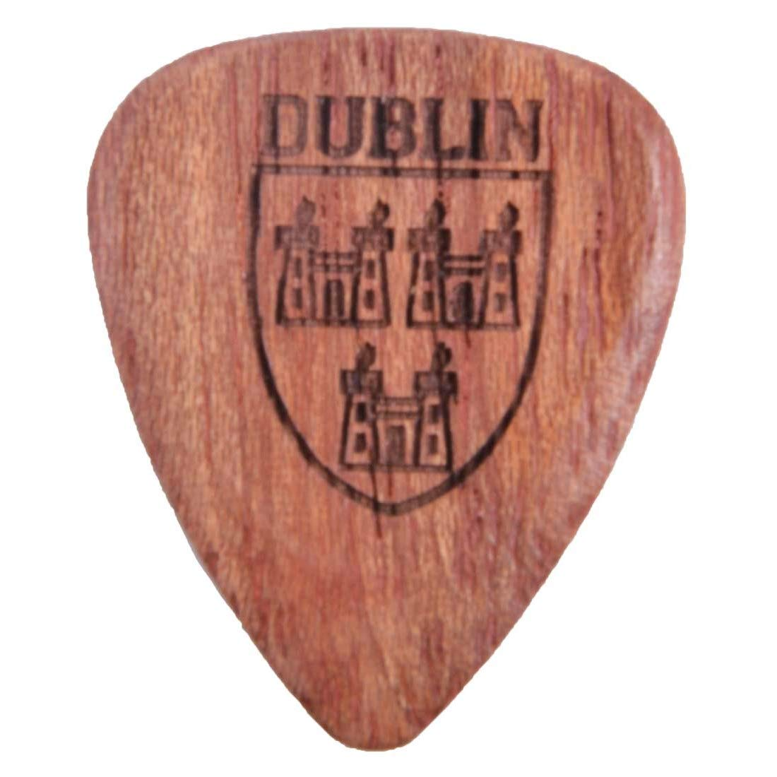 Solid Wooden Guitar Pick With Dublin Crest Design Brown Colour Carrolls Irish Gifts