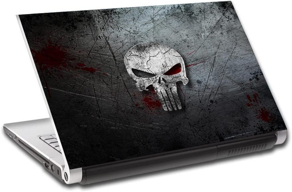 The Punisher Skull Logo Personalized LAPTOP Skin Vinyl Decal Sticker NAME L116-15.6""