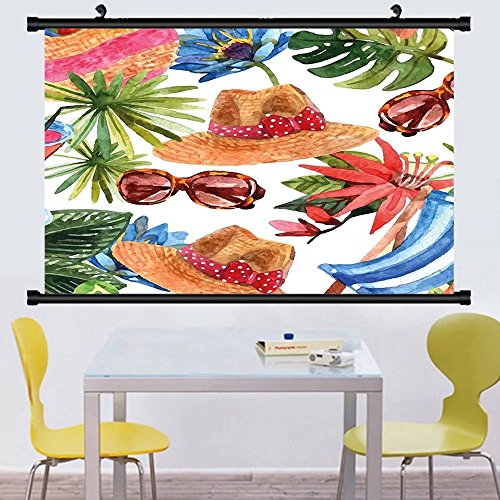 Gzhihine Wall Scroll Watercolor Decor Tropic Summer Holiday Beach Themed Travel Charm Coctails Hats Sunglasses Print Wall Hanging Multi - Sunglasses Ronaldo Cristiano