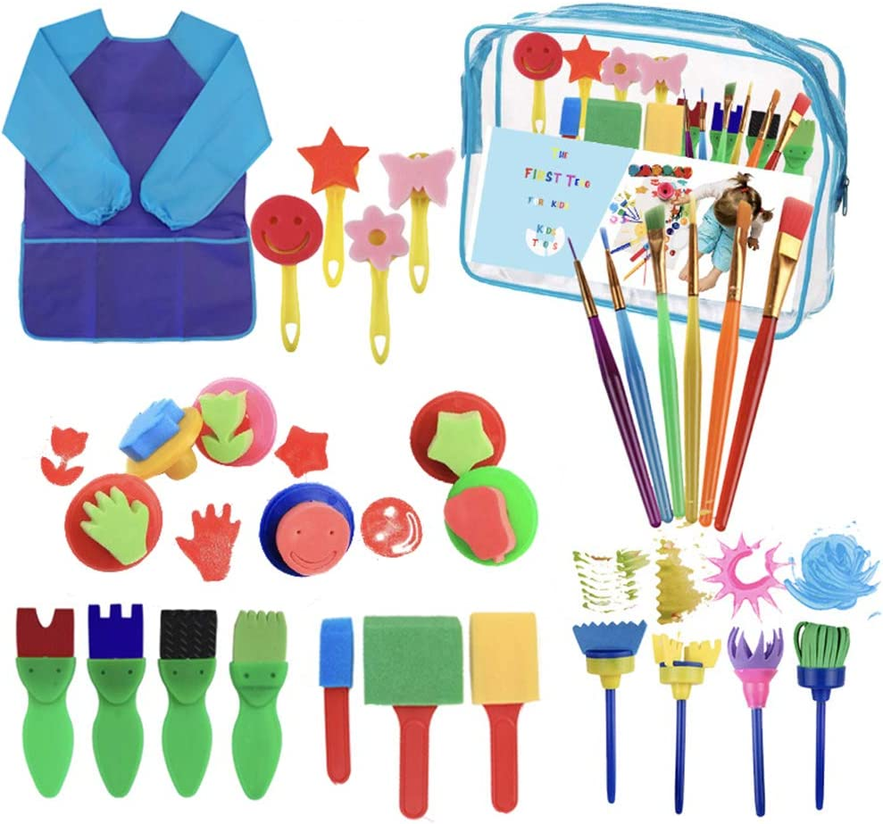 28Pcs Sponge Paint Brushes Kits Child Early Learning Painting Kit for Toddlers Assorted Pattern Including Children Waterproof Art Painting Smock