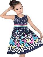 Girls Dress Navy Blue Butterfly Party School Child Size 4-12