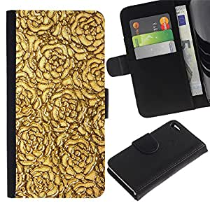 KingStore / Leather Etui en cuir / Apple Iphone 4 / 4S / Oro Rosas del papel pintado de superficies