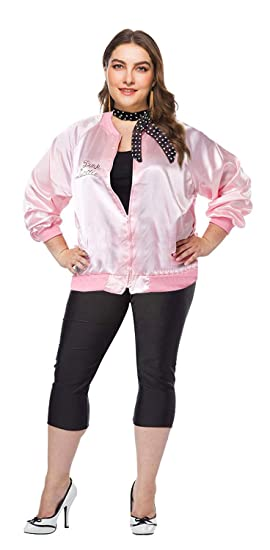d13abbbc8f5 1950s Plus Size Grease Rhinestone Pink Ladies Jacket with Polka Dot Scarf  (XL