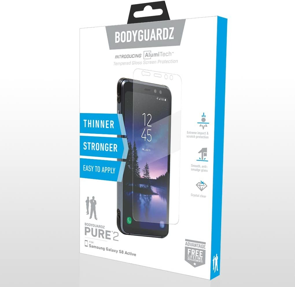 Pure 2 Glass Screen Protector BodyGuardz Ultra-Thin Tempered Glass Screen Protection for Samsung Galaxy S8 Active
