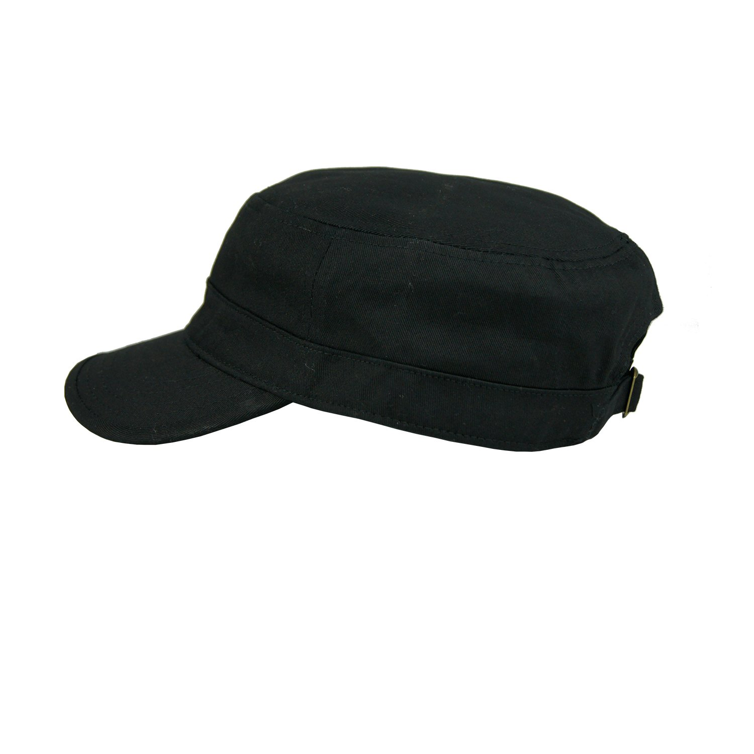 c762dce8959 Amazon.com  Free Bird 99 Low Profile Cotton Flat Top Peaked Army Military  Cadet Cap Hat (Black (15076))  Clothing
