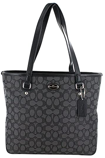 coach gray bag ezak  Coach Outline Signature Zip Top Tote in Black and Smoke Grey