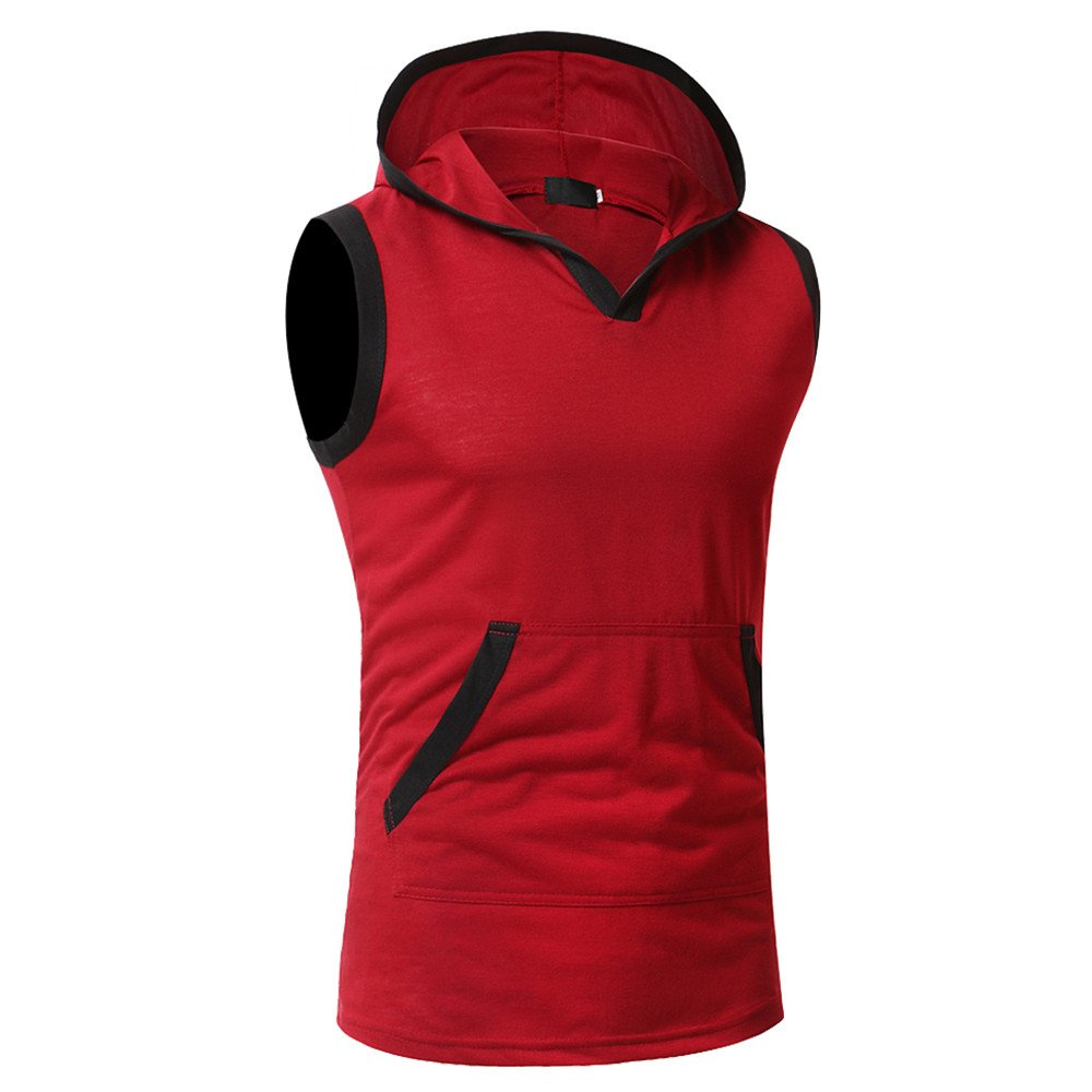 STORTO Mens Solid Hooded Sleeveless Workout Tank Tops Casual Placket Tee Shirts