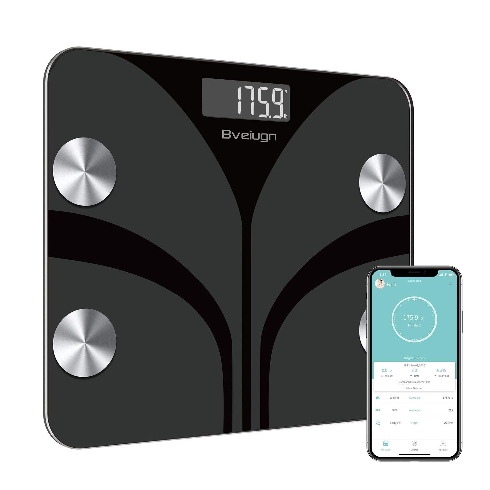 Scale Body Weight, Digital Body Fat Smart Wireless Bathroom BMI Composition Analyzer Health Monitor Tempered Glass Platform Large Digital Backlit LCD with Smartphone App