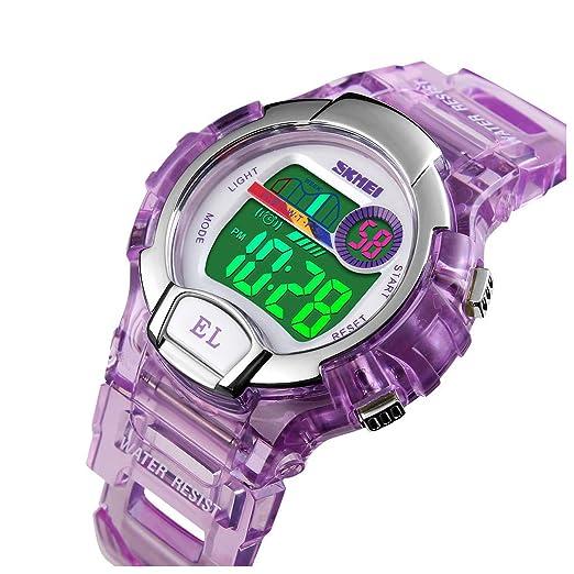 Reloj Digital Impermeable para niños para niñas y niños, Deportivo al Aire Libre LED Reloj eléctrico con Alarma luminiscente cronómetro Reloj de Pulsera ...