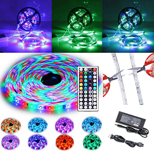 Price comparison product image LED Strip Lights 32.8ft / 10M SMD3528 Waterproof Multicolor Flexible RGB Strip Kit 600leds Color Changing+44Key IR Remote+24V 3A Power Supply