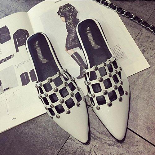 DM&Y 2017 remache del verano se?al¨® las sandalias de Baotou hueco zapatos planos atractivos del semi-remolque con los deslizadores planos de los ni?os de cuadr¨ªcula White
