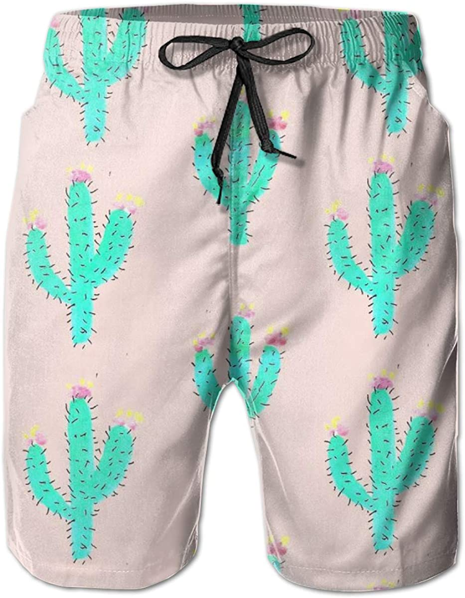 FASUWAVE Mens Swim Trunks Bright Cactus Quick Dry Beach Board Shorts with Mesh Lining