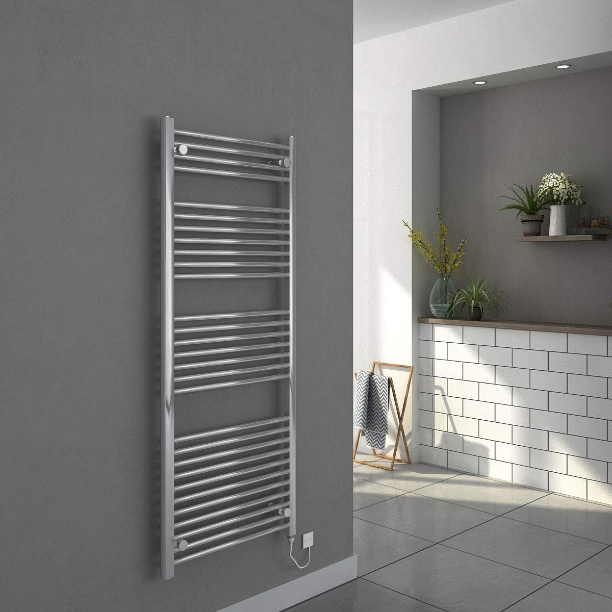 Thermostatic Electric Curved Bathroom Heated Towel Rail Warmer Radiator Rad 800 x 500 mm Vienna Chrome