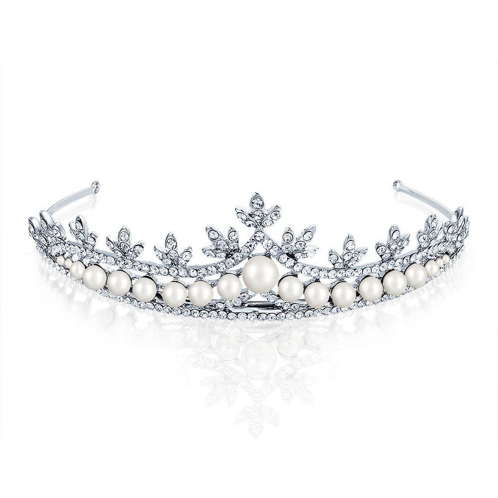 Rhodium Plated Rhinestone Simulated Pearl Bridal Tiara Bling Jewelry FAJ-SH6059