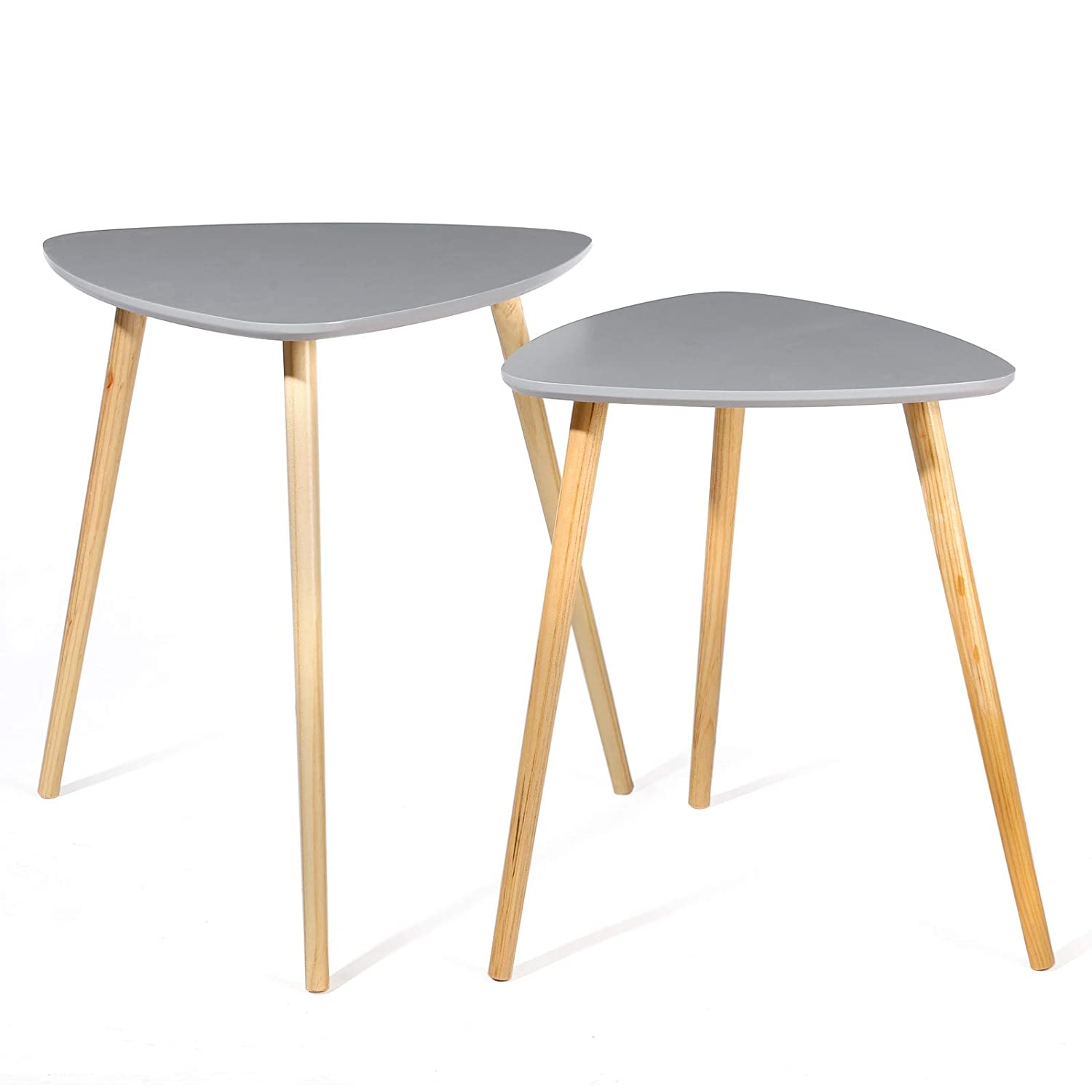 "SONGMCIS Nesting Tables Round Coffee End Tables Night Stand Modern Minimalist Multi-Purpose ""Daffodil Series"" Accent Furniture for Living Room Bedroom Kid's Room, Nature White Tabletop ULET07WN SONGMICS"